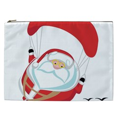 Skydiving Christmas Santa Claus Cosmetic Bag (xxl)