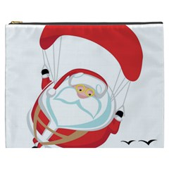 Skydiving Christmas Santa Claus Cosmetic Bag (xxxl)