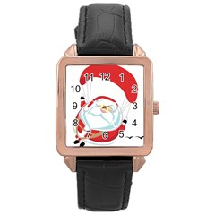 Skydiving Christmas Santa Claus Rose Gold Leather Watch  by Alisyart