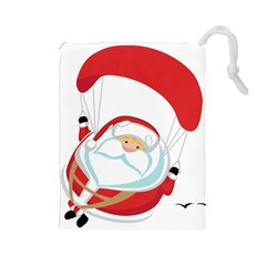 Skydiving Christmas Santa Claus Drawstring Pouches (large)