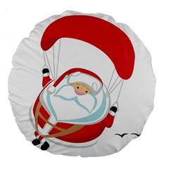 Skydiving Christmas Santa Claus Large 18  Premium Flano Round Cushions