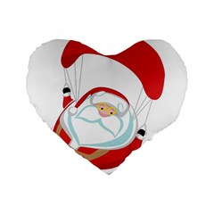 Skydiving Christmas Santa Claus Standard 16  Premium Flano Heart Shape Cushions by Alisyart