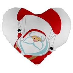 Skydiving Christmas Santa Claus Large 19  Premium Flano Heart Shape Cushions by Alisyart