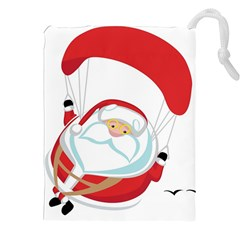 Skydiving Christmas Santa Claus Drawstring Pouches (xxl)