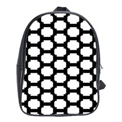Tile Pattern Black White School Bag (xl) by Alisyart