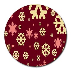 Snowflake Winter Illustration Colour Round Mousepads by Alisyart