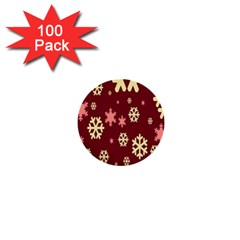 Snowflake Winter Illustration Colour 1  Mini Buttons (100 Pack)  by Alisyart