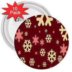 Snowflake Winter Illustration Colour 3  Buttons (10 Pack)  by Alisyart