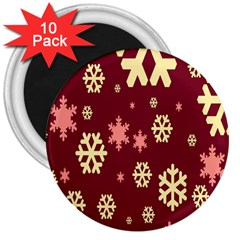 Snowflake Winter Illustration Colour 3  Magnets (10 Pack)  by Alisyart