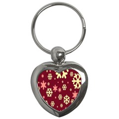 Snowflake Winter Illustration Colour Key Chains (heart)  by Alisyart