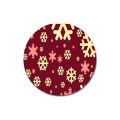 Snowflake Winter Illustration Colour Magnet 3  (round) by Alisyart