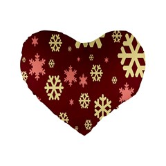 Snowflake Winter Illustration Colour Standard 16  Premium Flano Heart Shape Cushions by Alisyart