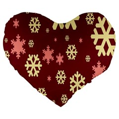 Snowflake Winter Illustration Colour Large 19  Premium Flano Heart Shape Cushions by Alisyart