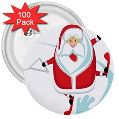 Surfing Snow Christmas Santa Claus 3  Buttons (100 Pack)  by Alisyart