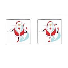 Surfing Snow Christmas Santa Claus Cufflinks (square) by Alisyart