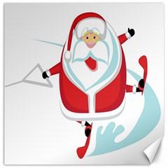 Surfing Snow Christmas Santa Claus Canvas 12  X 12   by Alisyart