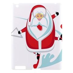 Surfing Snow Christmas Santa Claus Apple Ipad 3/4 Hardshell Case by Alisyart