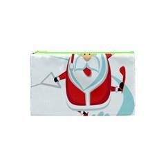 Surfing Snow Christmas Santa Claus Cosmetic Bag (xs) by Alisyart