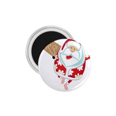 Surfing Christmas Santa Claus 1 75  Magnets by Alisyart
