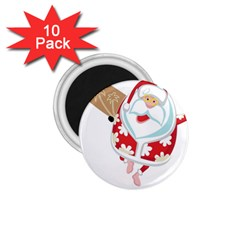 Surfing Christmas Santa Claus 1 75  Magnets (10 Pack)  by Alisyart