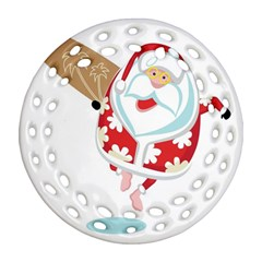 Surfing Christmas Santa Claus Round Filigree Ornament (two Sides) by Alisyart
