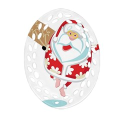 Surfing Christmas Santa Claus Oval Filigree Ornament (two Sides) by Alisyart