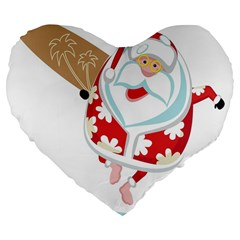 Surfing Christmas Santa Claus Large 19  Premium Flano Heart Shape Cushions by Alisyart
