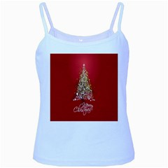 Tree Merry Christmas Red Star Baby Blue Spaghetti Tank by Alisyart