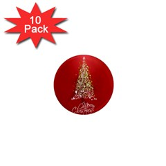 Tree Merry Christmas Red Star 1  Mini Magnet (10 Pack)  by Alisyart
