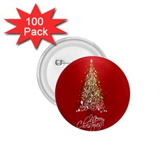 Tree Merry Christmas Red Star 1 75  Buttons (100 Pack)  by Alisyart