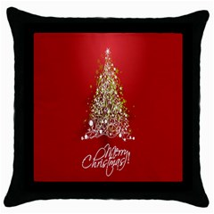 Tree Merry Christmas Red Star Throw Pillow Case (black) by Alisyart