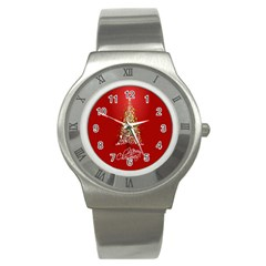 Tree Merry Christmas Red Star Stainless Steel Watch by Alisyart