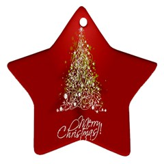 Tree Merry Christmas Red Star Star Ornament (two Sides) by Alisyart