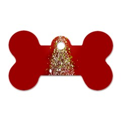 Tree Merry Christmas Red Star Dog Tag Bone (one Side) by Alisyart