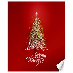 Tree Merry Christmas Red Star Canvas 11  X 14   by Alisyart