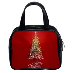Tree Merry Christmas Red Star Classic Handbags (2 Sides) by Alisyart