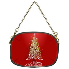 Tree Merry Christmas Red Star Chain Purses (one Side)  by Alisyart