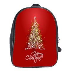 Tree Merry Christmas Red Star School Bag (large) by Alisyart