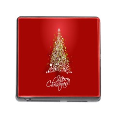 Tree Merry Christmas Red Star Memory Card Reader (square) by Alisyart