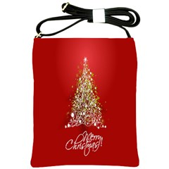 Tree Merry Christmas Red Star Shoulder Sling Bags by Alisyart