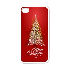 Tree Merry Christmas Red Star Apple Iphone 4 Case (white) by Alisyart