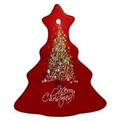 Tree Merry Christmas Red Star Christmas Tree Ornament (two Sides) by Alisyart