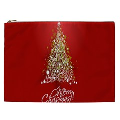 Tree Merry Christmas Red Star Cosmetic Bag (xxl)  by Alisyart