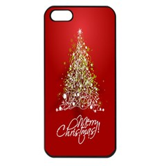 Tree Merry Christmas Red Star Apple Iphone 5 Seamless Case (black) by Alisyart