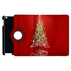 Tree Merry Christmas Red Star Apple Ipad 3/4 Flip 360 Case by Alisyart