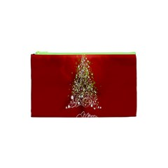 Tree Merry Christmas Red Star Cosmetic Bag (xs) by Alisyart