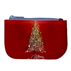 Tree Merry Christmas Red Star Large Coin Purse by Alisyart