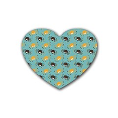 Spider Grey Orange Animals Cute Cartoons Rubber Coaster (heart)  by Alisyart
