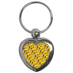 Fruit Bananas Yellow Orange White Key Chains (heart)  by Alisyart