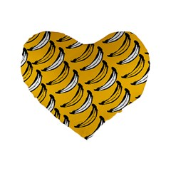 Fruit Bananas Yellow Orange White Standard 16  Premium Flano Heart Shape Cushions by Alisyart